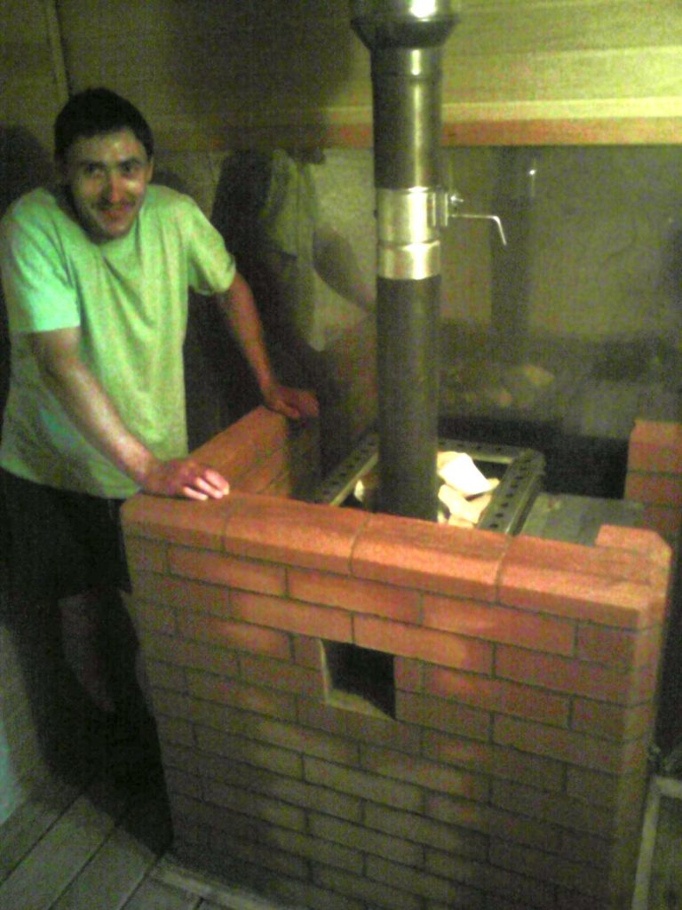 Банная печь, сауна, печник, металлическая банная печь, длительного горения, обложена кирпичем