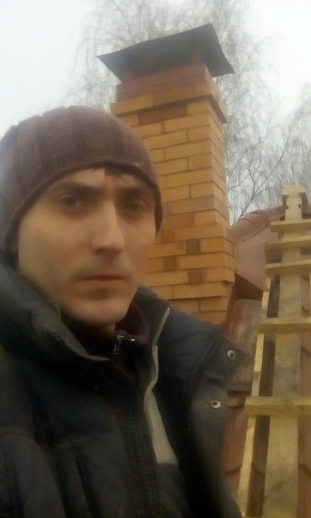 Печник, кладка трубы, крыша, печная труба, колпак на трубу, деревянная лестница на крыше